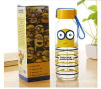 Wholesale 2015 ml Fashion Small yellow cartoon man glasses water bottle portable Despicable Me glass transparent glass bottle my bottle R922