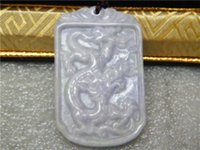Wholesale hot Certified Green Natural A Jade jadeite pendant Dragon Rectangle