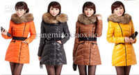Wholesale New Style Hot Wome s Down jacket Coat Winter Fashion Daimo Collar Self Long Down Jacket Yello AAA
