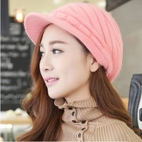 Wholesale New Fashion Handmade Warm Winter Women Beret Wool Hat Red Beige violet Gray Color beanie hats for women fashion skull caps