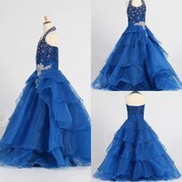 Wholesale Sparke Organza Halter Cheap Pageant Dresses for Girls Sleeveless Blue Beaded Back Zipper Princess New Flower Girl Gowns Custom Made