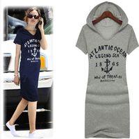 cotton night shirt - 2015 New Fashion Womens Letter Print Cotton Slim Fit Casual Hoodie Long T Shirt Dress pieces
