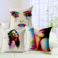 Wholesale Creative Art Paint Sofa Cushion covers Colorful Body Painting Beauty Throw Pillows Cases X45cm Linen Cotton Decorative Pillows Covers
