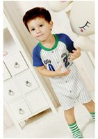Wholesale 2014 summer new Boys cartoon striped turndown collar short sleeve Gentleman clothes Baby rompers jumpsuit