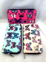Wholesale NEW Women Butterfly Oilcloth Zip Purse Wallet Large Lady Coin Handbag Organizer