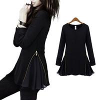 tunic tops - S5Q Women s Long Sleeve Slim Zipper Blouse Lady Pleated Peplum Frill Tunic Tops AAAECA
