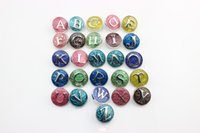 Wholesale New style mm metal enamel letter A Z alphabet Ginger Snap Button for snap button jewelery bracelets for women