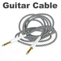 Wholesale 3M FT Black White Cloth Braided Tweed Guitar Cable Cord