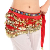 Wholesale New Coins Belly Dance Gypsy Skirt Sequins Tassel Hip Scarf Wrap Belt Belly Dance Costume Accessories Waist Chain X
