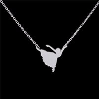 ballerina accessories girls - Stainless Steel Cute Ballerina Necklace Pendant Women Fashion Design Unique Dancing Girl Charm Necklaces Ptaty Jewellery Accessories