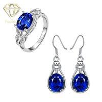 Wholesale Delicate AAA Cubic Zircon Diamond Blue Sapphire Ruby Jewelry Sets K Rose White Gold Plated Water Drop Earrings Rings