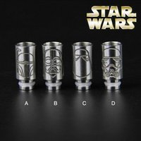 bear stars - Star Wars Drip Tips Stainless Steel Wide Bore Drip Tip EGO Atomizer Mouthpieces for E Cig RDA Mechanical Mods Subtank Glass Globe