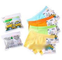 Wholesale 2015 Cartoon Printing Minions Plaid Cotton Despicable Me Adorable Kids Underwear Briefs Boxers Children Boys Underwears Brief K4893
