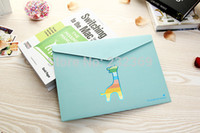 Wholesale A4 documents pouch Korean lovely stirring paper A4 envelope Color cartoon office kit folder from mail