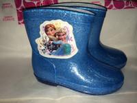kids rain boots - 2014 EMS Kids frozen Rain Boots Rainboots Waterproof Rain Shoes Galoshes Antiskid Girls Boys Cartoon Watershoe Shoes styles