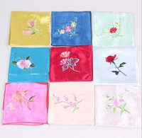 Wholesale Chinese traditional Silk Satin handkerchief hot fashion trend unique embroidery gift mixed color sold per of