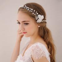 Wholesale 2016 Korean White flower soft chain headdress Sweet pearl hair bands Wedding hair jewelry New Arrival
