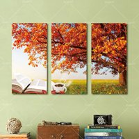 autumn nature pictures - 3 Panel Modern Printed Autumn Tree Painting Picture Cuadros Canvas Art Nature Landscape Painting For Living Room No Frame angel painting