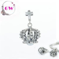 Wholesale silver crown silver charms style loose beads fit silver European bracelets No90 S188