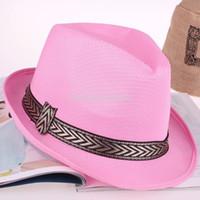 Wholesale Cheapest Unisex Women Men Casual Trendy Beach Sun Panama Jazz Hat Cowboy Fedora Gangster Cap Multi Colors