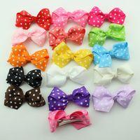 dot ribbon - Polka Dot Bows flower with Clips Alligator Hair Clips for Girls Headwear Single Prong Ribbon Grosgrain Hairpins Kids Hair Band Accessories