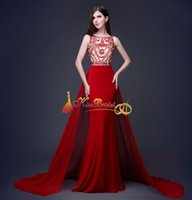 Wholesale Designer Prom Dresses Red Vestidos Real Image Crystal Beads Sheath Jewel Neck Arabic Long Party Dress Formal Evening Gowns In Stock
