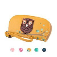 leather owl purse - S5Q New Brand Fashion Women Cute Hollow Owl Print PU Leather Long Card Holders Wallet Clutch Purse AAAFAG