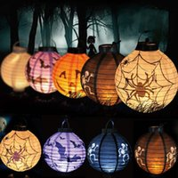 Wholesale New Hot Sale LED Paper Pumpkin Spider Bat Hanging Lantern Light Lamp Halloween Party Decor