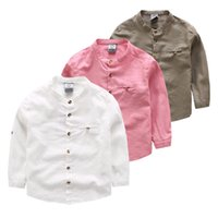 Wholesale Children Stand Collar Shirts Boys Pure Colors Shirt Long Sleeves classic British Style Shirts Top Quality