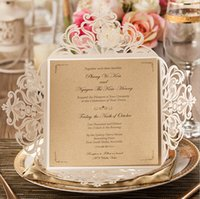 Wholesale 2015 Wedding Invitations Gold Paper Blank Inner Sheet Laser Cutting Wedding Invitation Flowers Hollow Wedding Cards