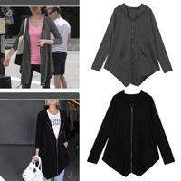 asymmetric hem coats - Winter Women Coat Long Cardigans Hoodie Asymmetric Hem Zipper Closure Pockets Outerwear Sweatshirt Tops Blusas New Fashion G1586