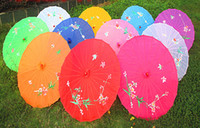 bamboo umbrella frames - hand painted flower design colors Chinese art umbrella bamboo frame silk parasol for bride amp