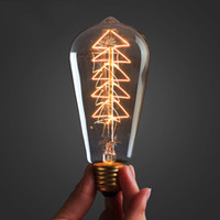 bar nature - Christmas tree Vintage Edison light Bulb W ST64 carbon filament Tungsten Incandescent for Household Bar Coffee Shop