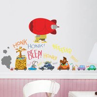 Wholesale Zootopia wall stickers cartoon Nick Wilde Judy Hopps wallpapers wall decals removable novelty cm PVC wallpaper for kids room B