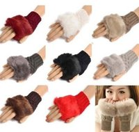 Wholesale Hotsell Women Girl Knitted Faux Rabbit Fur gloves Mittens Winter Arm Length Warmer outdoor Fingerless Gloves colorful gifts
