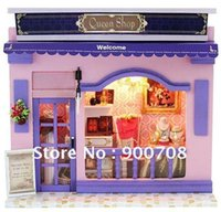 Wholesale 40pc DIY wooden mini shop With light Cake Food of Love european miniature store with english instruction