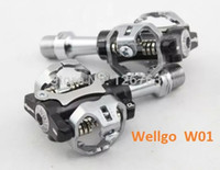 Wholesale Original Wellgo W01 Mountain Bike MTB Clipless Pedals Cycling Clipless Pedals Bicyle Self Locking SPD Pedals