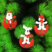 100pcs / lot Árvores de Natal de suspensão Ornaments Mini Festival de Santa Cervos Snowman Estilo Dolls X'mas decorativa Suprimentos HX504