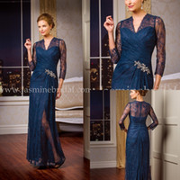 Wholesale 2015 Lace Mother Of The Bride Plus Size V Neck With Long Sleeves Formal Dresses Navy Blue Mother Of The Bride Dresses