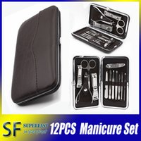 cases sets - 12pcs Manicure Set Leather Case for Nail care Tools Pedicure Set Travel Grooming Kit Tools With Retail package DHL