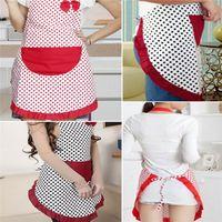 Wholesale Hot Sales Women Apron Kitchen Restaurant Cooking Cleaning Tool Cute Pockets Bowknot Cotton linen JA8