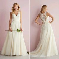 Wholesale Attractive V Neck A Line Floor Length Lace Appliqued Bridal Wedding Gown Sleeveless Buttons Coverd Wedding Dresses