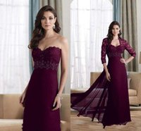 Wholesale Modest A Line Sweetheart Mother of the Bride Dresses With Jacket Chiffon Applique Lace Beaded Floor Length Evening Formal Gowns Hot Sale LQ