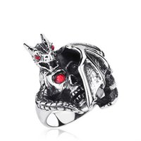 bat wing skeleton - FACTORY NEW HOT DESIGN HIGHT QUALITY Men s Stainless Steel Glass Ring Band Silver Skull Dragon Bat Wing Gothic