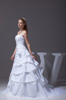 ball exchange - Strapless Tiered Taffeta Flowers White Ruffles Wedding Ball Gowns Custom Made On Sale Days Exchange or Return