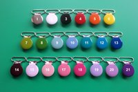 Wholesale MM Enamel Round Metal Suspender Clips Pacifier Mitten Fabric Dummy Clips Mix Colors With Plastic Teeth