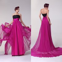 Wholesale Real Photos High Quality Glitter Prom Dresses Strapless Fuchsia Chiffon A line Princess Evening Gowns