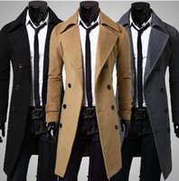mens trench coats - 2015 Winter Mens Trench Coat Windbreaker Woolen Long Outwear Black Dark Gray Camel Slim Double breasted Coats Luxurious Plus Size