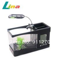 Черный белый 6 светодиодных мини ЖК-Fish Tank с Запуск воды Desktop Аквариум Будильник свет USB-кабель Home Office