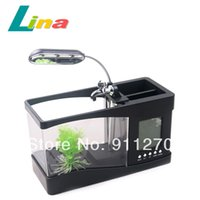 Wholesale Black White LED Mini LCD Fish Tank With Running Water Desktop Aquarium Alarm Clock Light USB Cable Home Office